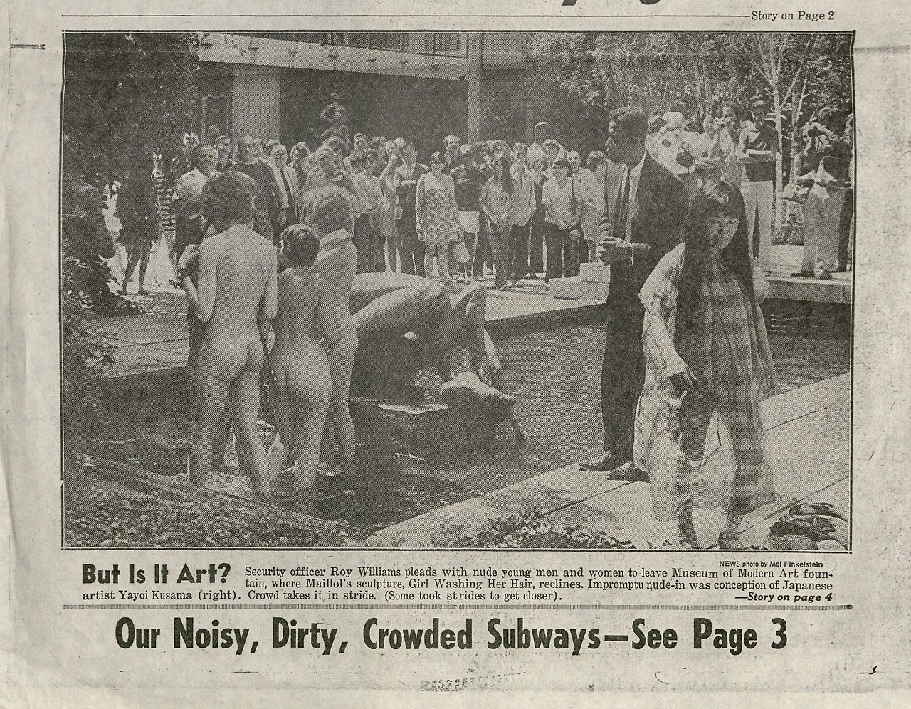 "This image appeared on the front page of the Daily News with a photograph of Kusama's ""Grand Orgy to Awaken the Dead"" at MoMA, August 25, 1969."