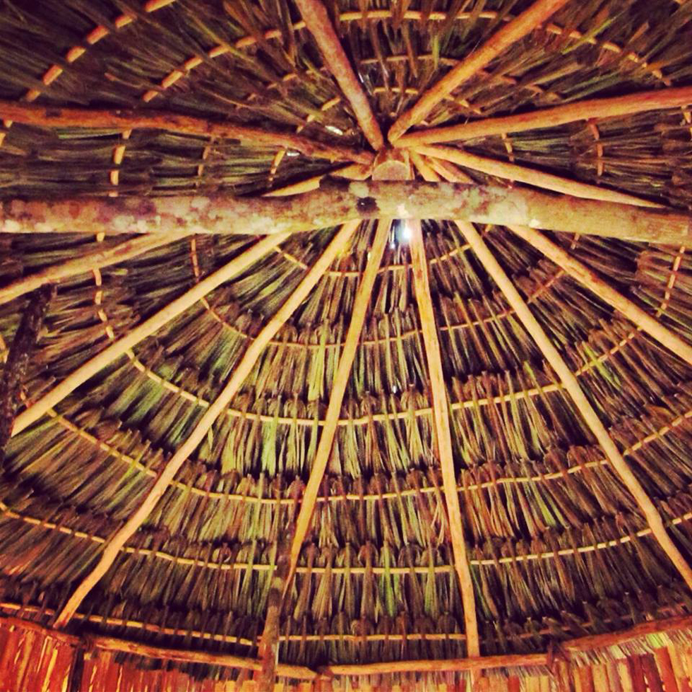 Beautiful octahedron roofing inside one of the palapas.
