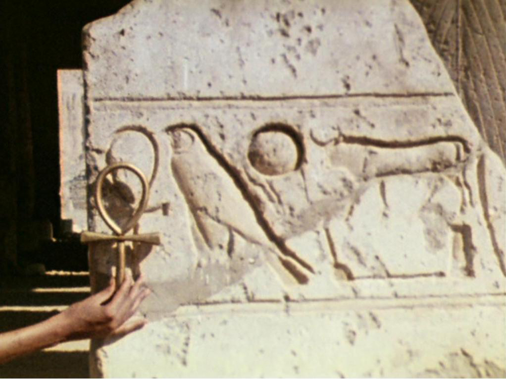 The ankh - symbol of transformation, alchemy and eternal life - in the temples of ancient Egypt in Luxor. A still from Lucifer Rising (1966-1980), a film by Kenneth Anger. Colour, 16mm, 28mins.