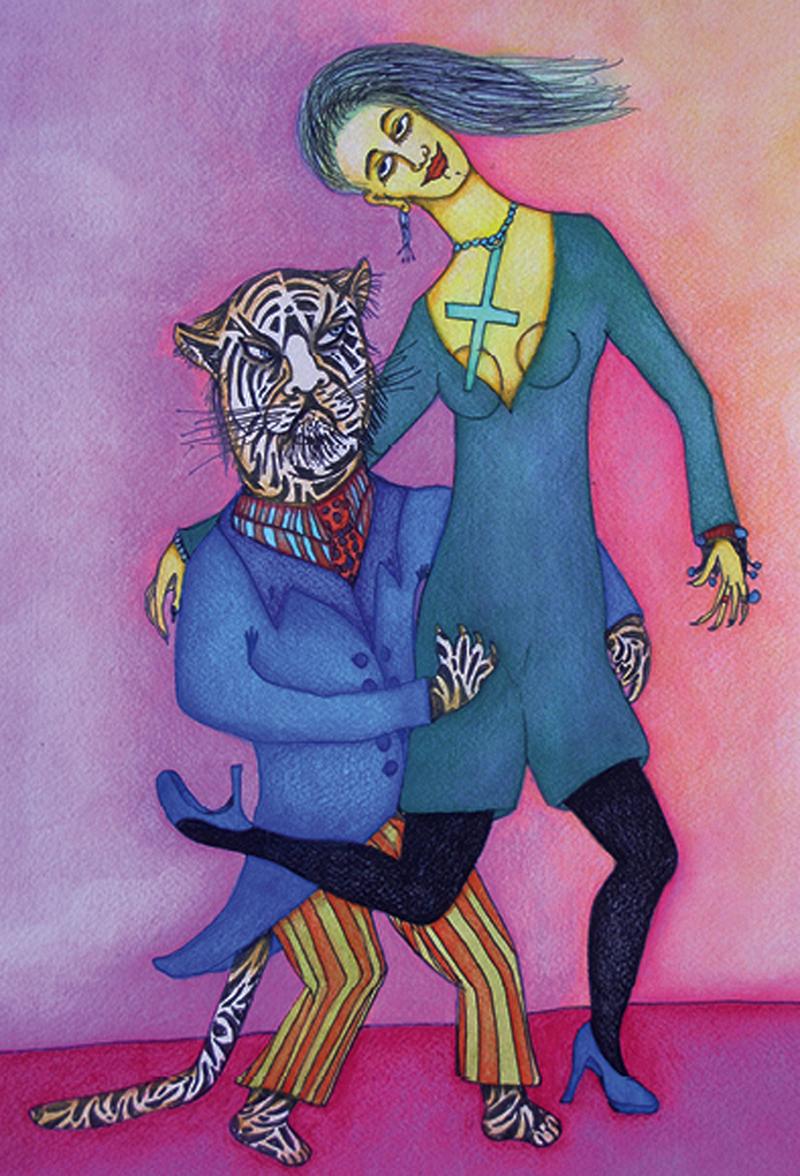 Tango du Tigre (2014) Mixed on paper by Alejandro Jodorowksy and Pascale Montandon. 41 x 31 cm
