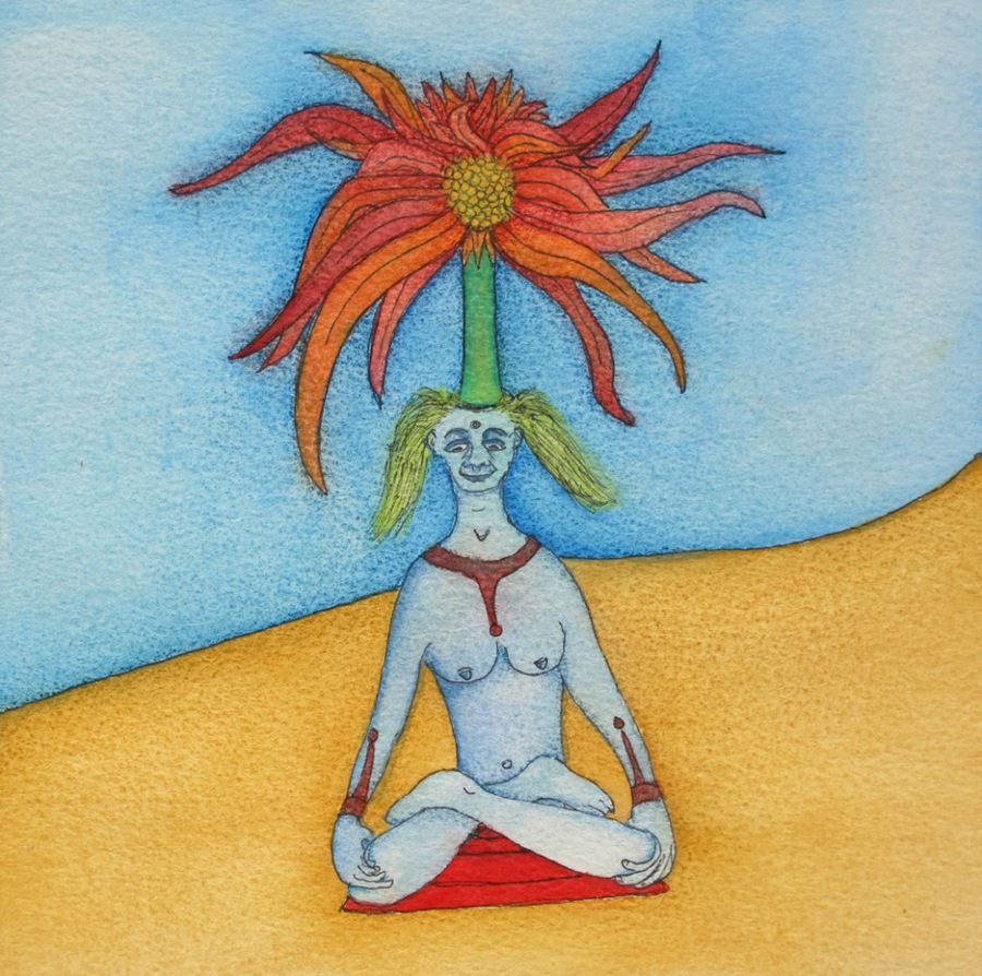 Yoga Floral (2014) Mixed on paper by Alejandro Jodorowksy and Pascale Montandon. 20 x 20 cm
