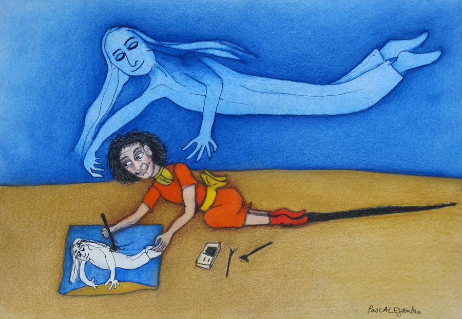 Le dessin et la présence (2014) Mixed on paper by Alejandro Jodorowksy and Pascale Montandon. 18 x 26 cm