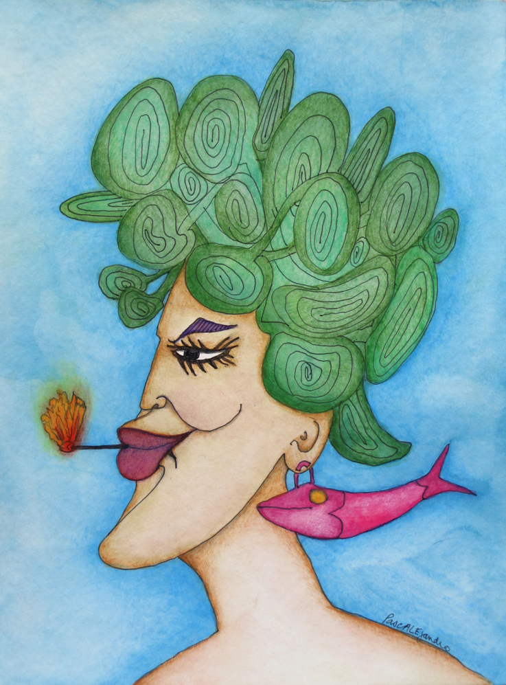 Une diva (2014) Mixed on paper by Alejandro Jodorowksy and Pascale Montandon. 32 x 24 cm