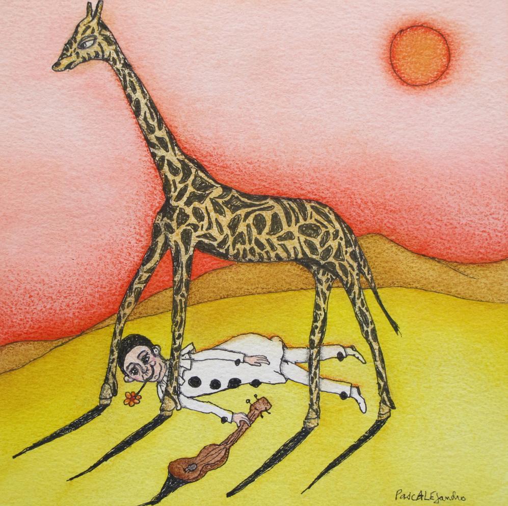 A l'ombre de la giraffe (2014) Mixed on paper by Alejandro Jodorowksy and Pascale Montandon. 20 x 20 cm
