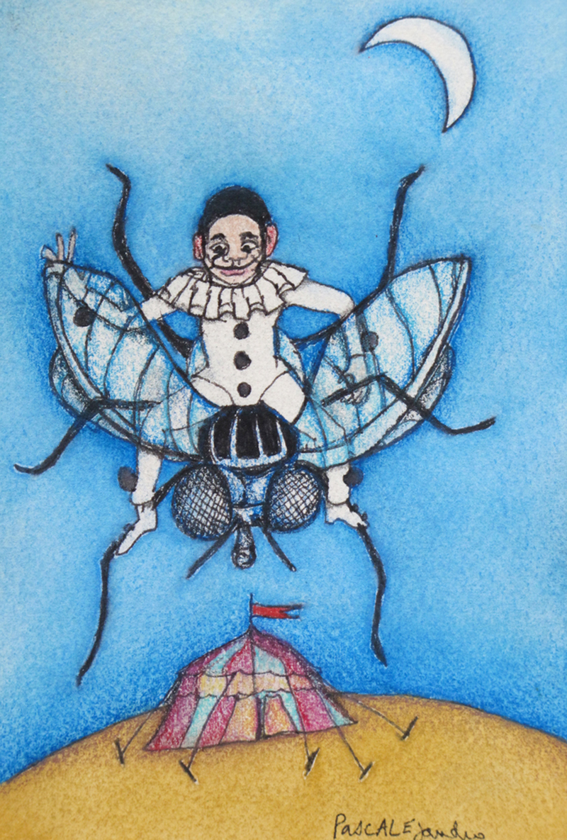 Pierrot sur mouche (2014) Mixed on paper by Alejandro Jodorowksy and Pascale Montandon. 15,5 x 10,5 cm