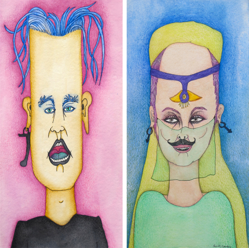 Left: Banana Boy (2014) Mixed on paper by Alejandro Jodorowksy and Pascale Montandon. 40 x 20 cm