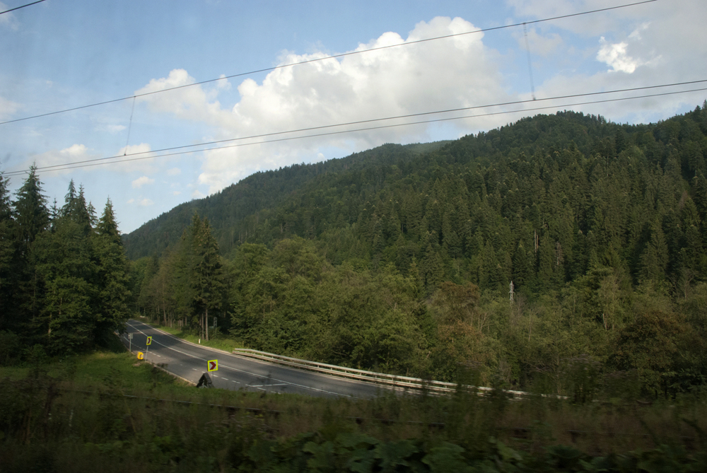 On the road through Transylvania, to the location near Rasnov.
