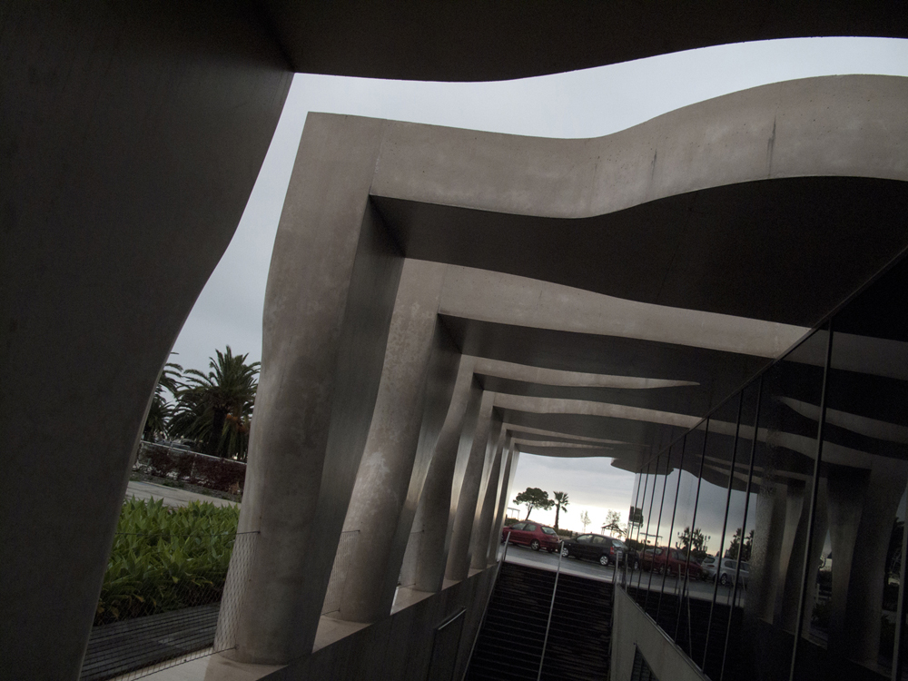 The architectural interplay of light and shadow at the Musée Jean Cocteau.