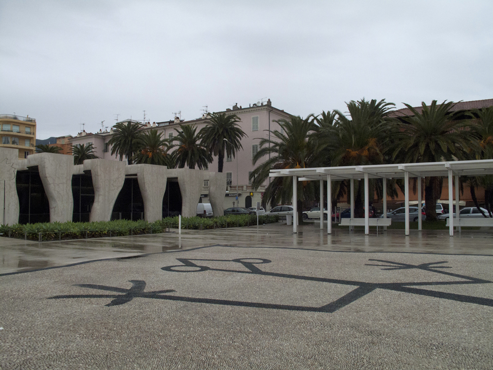 A view on the Musée Jean Cocteau on an unusually dark and cloudy afternoon in Menton. The building was designed by architect Rudy Ricciotti.