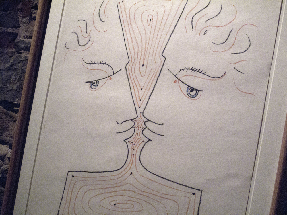 Amoureux (Lovers) (1957) A work on paper by Jean Cocteau. 64 cm x 50 cm.