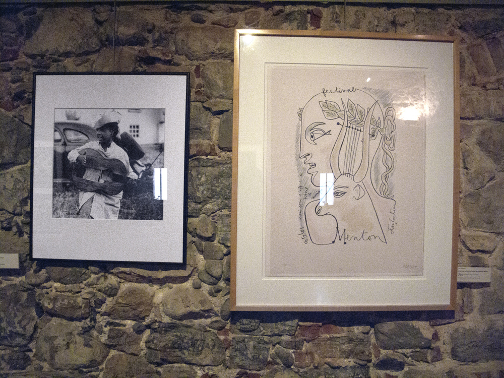 (Left) Portrait from Lucien Clergue's series on gypsies. (Right) Trial for the poster of the music festival of Menton (1956) A work by Jean Cocteau. Colour Lithograph, 65 x 50 cm.