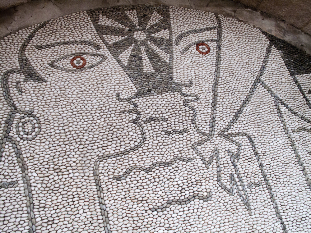 Pebble mosaics by Jean Cocteau outside the Bastion Museum.