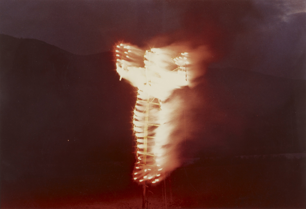 A´nima, Silueta de Cohetes ( Soul, Silhouette of Fireworks ) (1976) by Ana Mendieta. Colour Photograph, lifetime print. Photographed in Mexico.