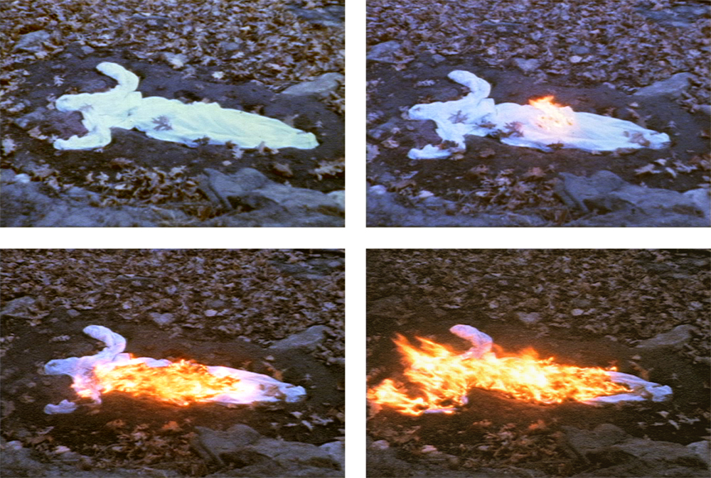 Stills from Alma Silueta en Fuego (Silueta de Cenizas) (Soul Silhouette on Fire (Silhouette Ash) (1975) by Ana Mendieta. Super-8 colour, silent film, 3 mins.