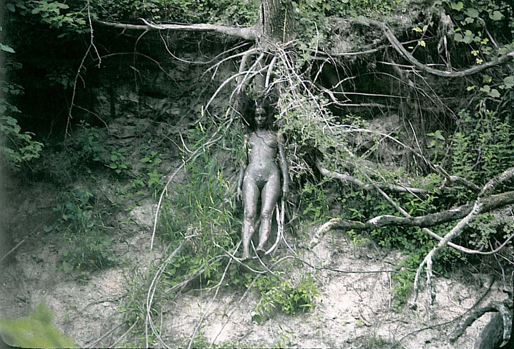 Arbol de la Vida (Tree of Life) (1976–9) by Ana Mendieta. Photographed at Old Man's Creek, Iowa City, Iowa. Colour Photograph, lifetime print.