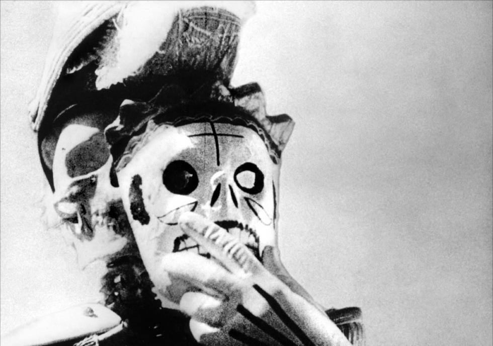 The Day of the Dead in modern-day (1931) Mexico. A still from ¡Que viva México! a film by Sergei Eisenstein (1931) Black and white, 35mm, 90 mins.