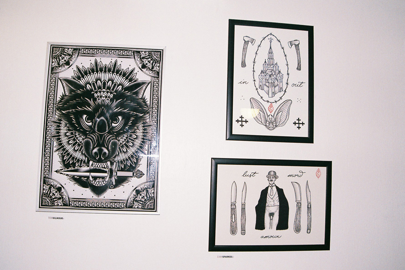 A work by TOM GILMOUR (left) and works by LIAM SPARKES.