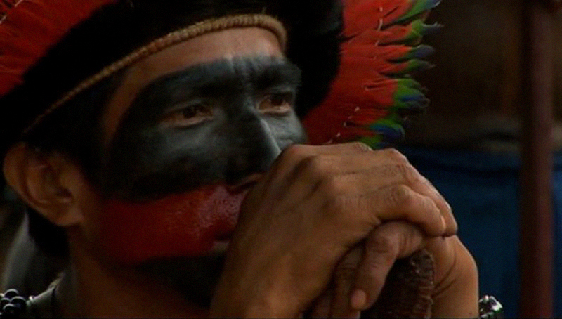 A Xingu tribe member in the Amazon rainforest of Brazil. A still from Belo Monte Justice Now! A film by Todd Southgate for Amazon Watch.