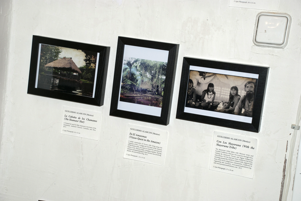 Works by Guillermo Alarcon: La Cabaña de los Chamanes (The Shaman's Hut) (2013), En El Amazonas - Vision Quest in the Amazon (2013) and Con Los Mayoruna (With the Mayoruna tribe) (2013).