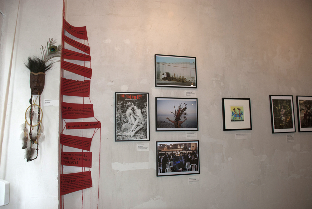 A view on the exhibition with works by Joth Shakerley, Noam Chojnowski, Alejandro Jodorowsky, Pascale Montandon, and Benoit Paillé.
