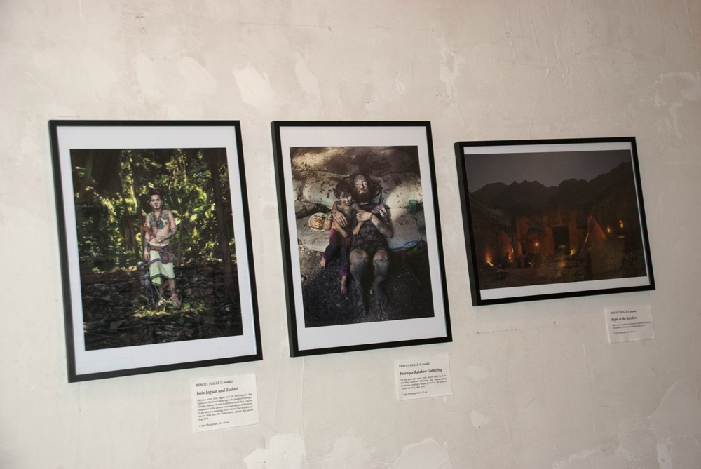 Works by Benoit Paillé: Imix Jaguar and Teahui (2011), Palenque Rainbow Gathering (2010), and Night at the Rainbow (2010).