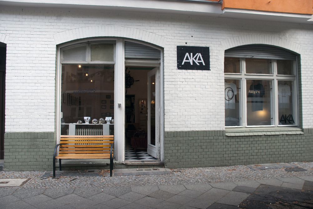 Outside AKA Galerie on Pflüger-Straße in Berlin.