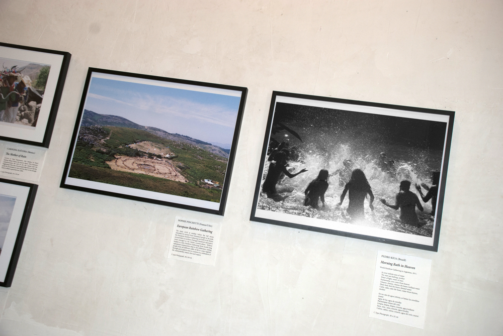 European Rainbow Gathering (2011) by Sophie Pinchetti alongside Morning Bath in Heaven (2011) by Pedro Kiua.
