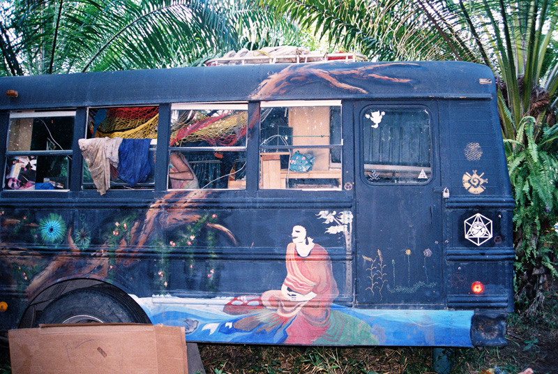 Meditative side view of the Co-Laboratory bus... With a tribute to the Mayan symbol of HUNAB KU.