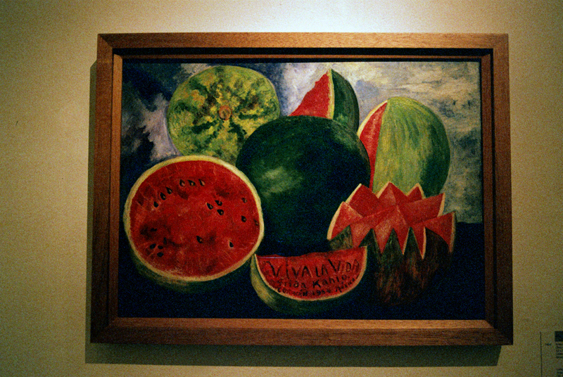 Frida Kahlo's last painting... Viva la Vida, Sandias [Viva la Vida, Watermelons] (1954) by Frida Kahlo. Oil on masonite.