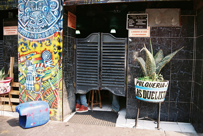 Midday in Mexico City: time for pulque at Las Duelistas Pulqueria.
