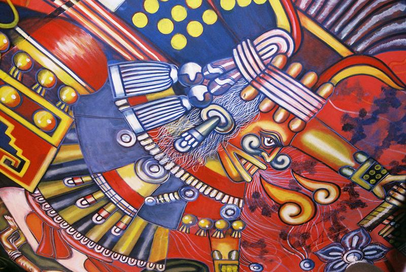 Psychedelic Mayan artwork inside Las Duelistas.