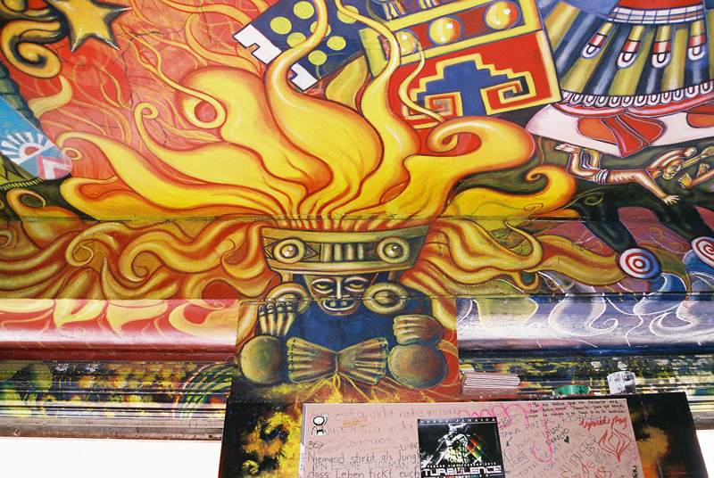 A fiery tribute and scrawled messages by visitors of Las Duelistas.