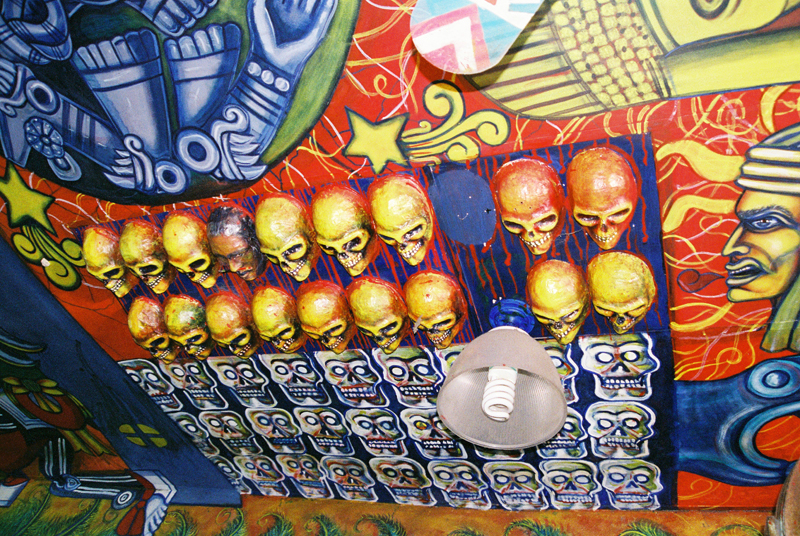 Rows of skulls on the ceiling of Las Duelistas.