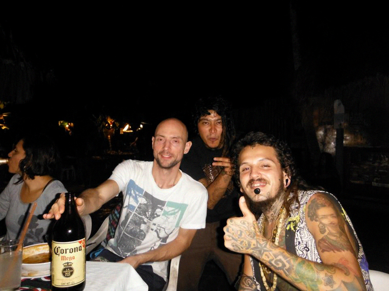 VASILY MARKELOV (Psykovsky), ANDREI SKY WALKER, and IMIX JAGUAR (Founder of Popol Vuh Records and Popol Vuh Festival) having some beers in the jungle.