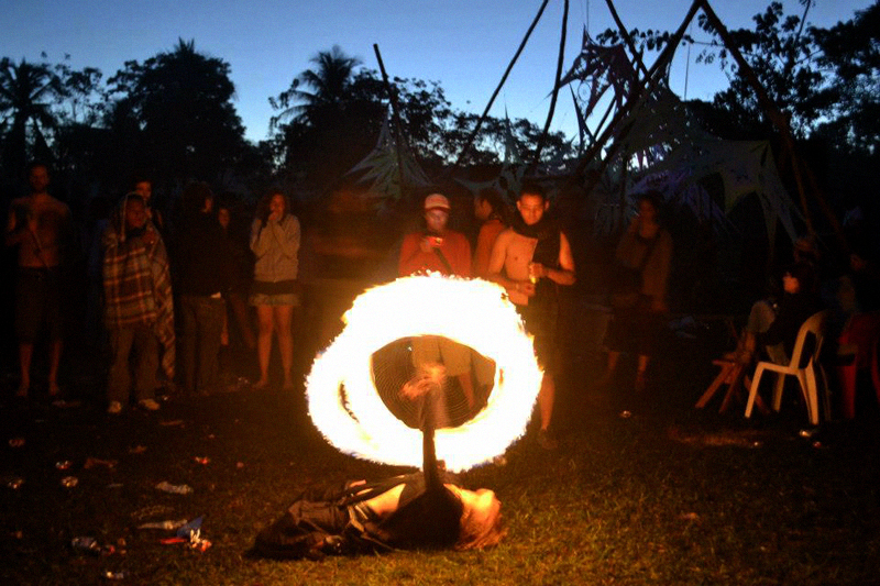 The spirit of the Fire through performance at dusk.