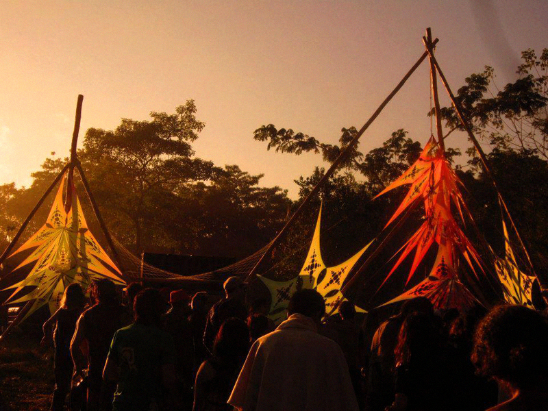 Solar salutations: the sun rising over the festival.