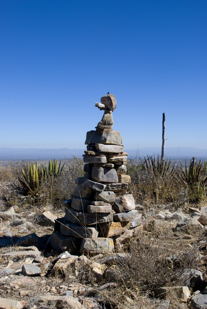 Our Mexican friend Christo made this after a 2 hour walk high up in the desert. We added some of the rocks at the top!