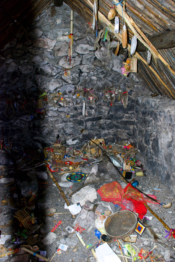Offerings by the indigenous Huichol people in Real de Catorce.