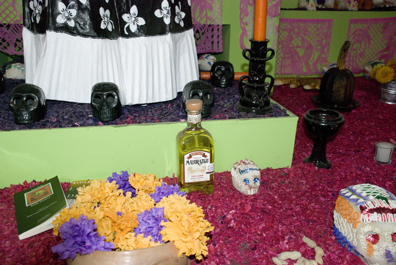 A bottle of Tequila and skulls made with sugar.