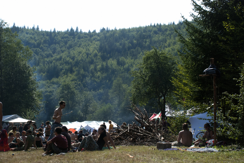 A view on the festival from the Chill Out area. The Local Fairy with his wand walking by.