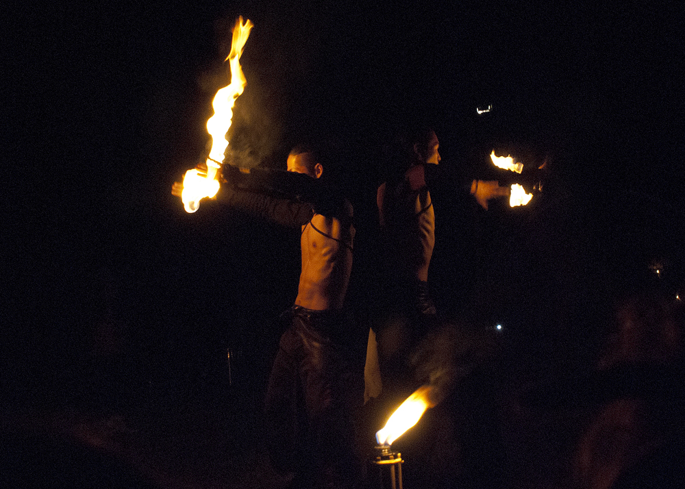 Fire spirit rising: beautiful performance by the Japanese collective, Tribal Ninjas: Ryo Shinozaki and Jona Sun.