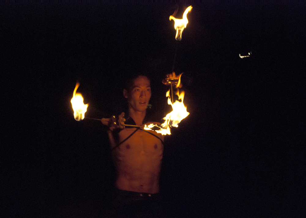 Jona Sun from the Tribal Ninjas' fire performance.