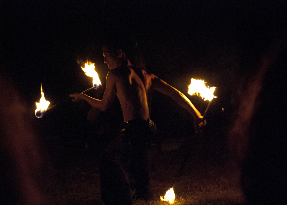Jona Sun from the Tribal Ninjas performing with fire.
