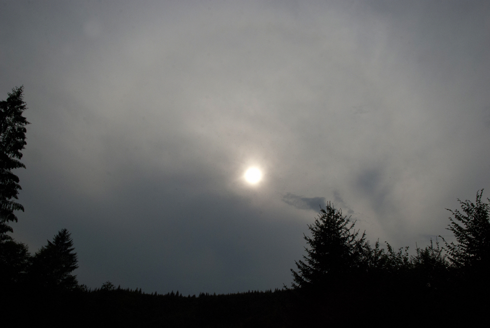 Hypnotic afternoon sun peering through the clouds.
