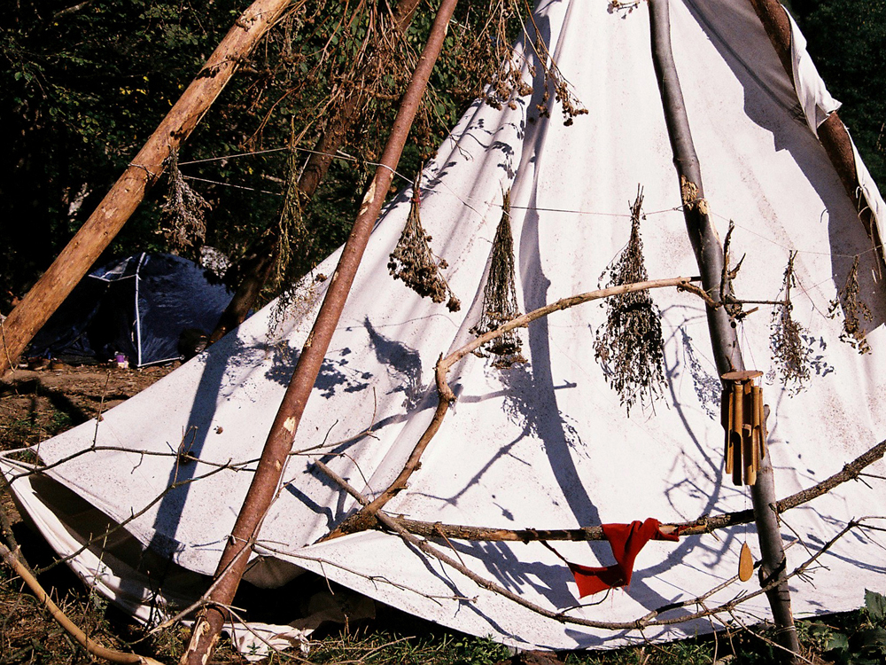 A tipi in the Healing Area at Transylvania Calling.