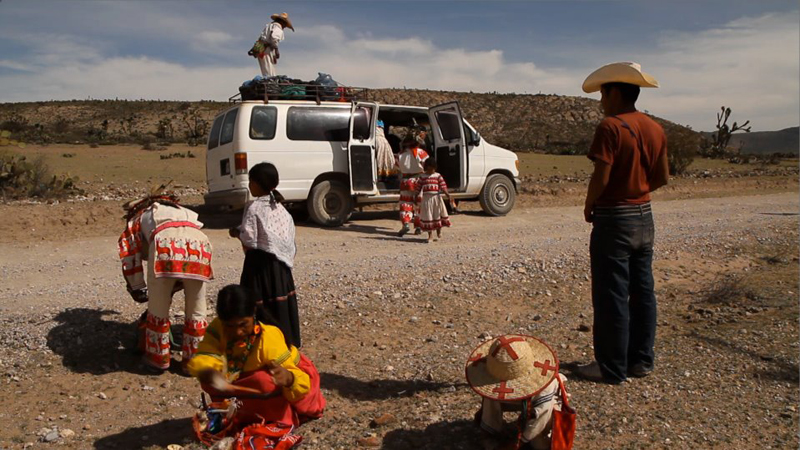On the road of the pilgrimage from their home in the Sierra Madre Occidental to Wirikuta, in the Mexican state of San Luis Potosí. The Huichol Indians reside in the central western Mexican states of Nayarit, Jalisco, Zacactecas, and Durango.