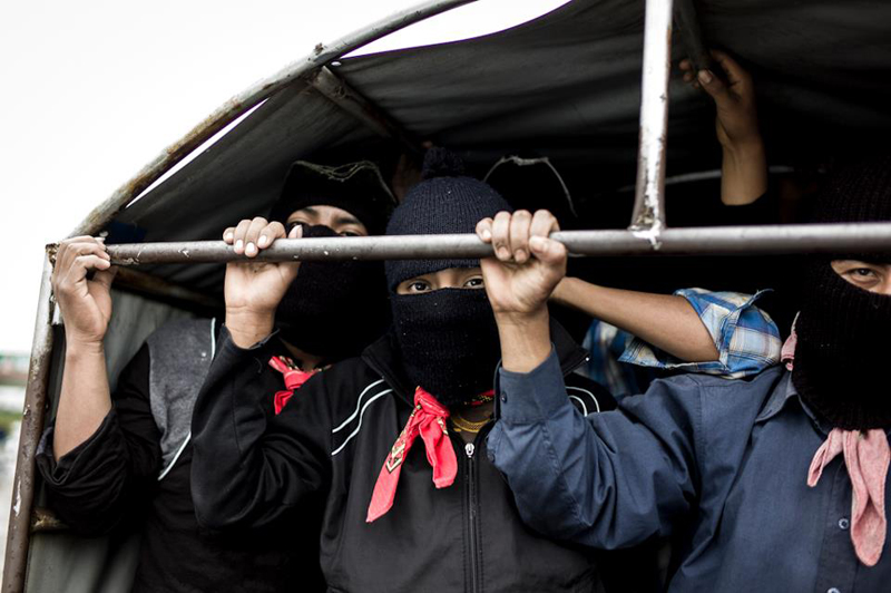Zapatistas' silent demonstration on 21. December 2012, Palenque, Mexico. Photographed by Noam Chojnowski.