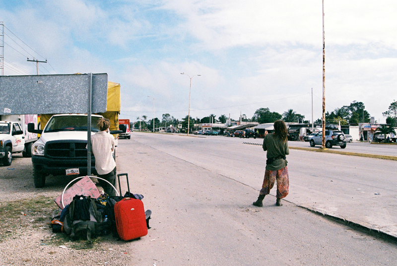 On the road. Hitchhiking towards San Cristobal and leaving Bacalar, with artist Paul Sargent and writer Cat Rainsford. Suitcase full of issues of The Third Eye.