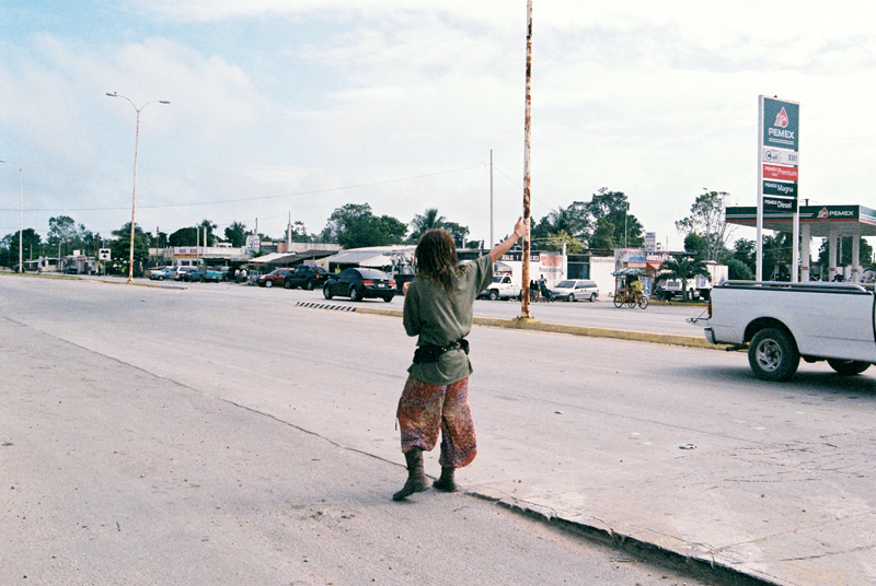Writer Cat Rainsford hitchhiking in Mexico.