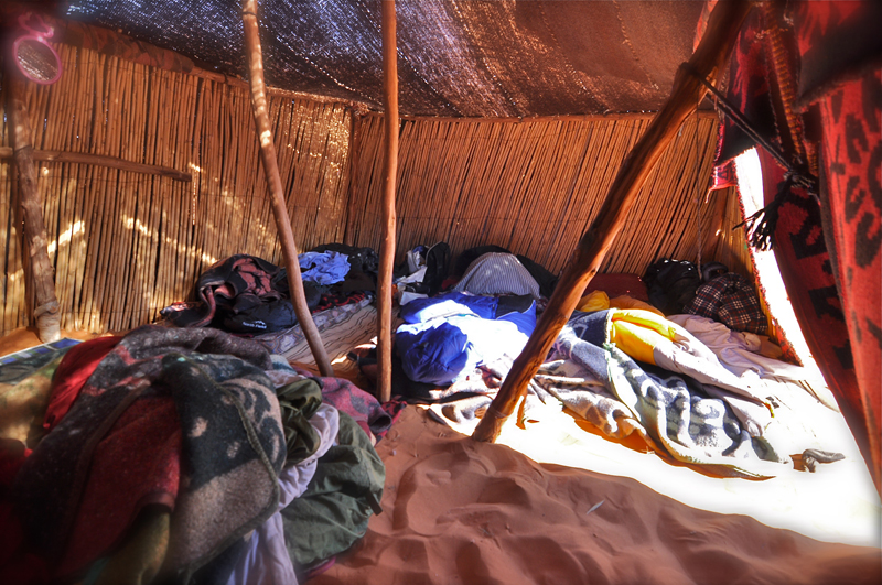Desert home: Fabrice Knecht's bed during the week.